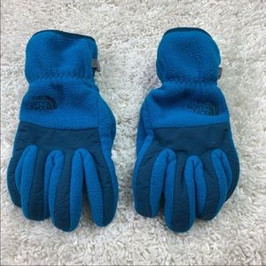 North face woman's blue gloves